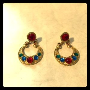 Vintage Earrings With Colorful Accent Stones